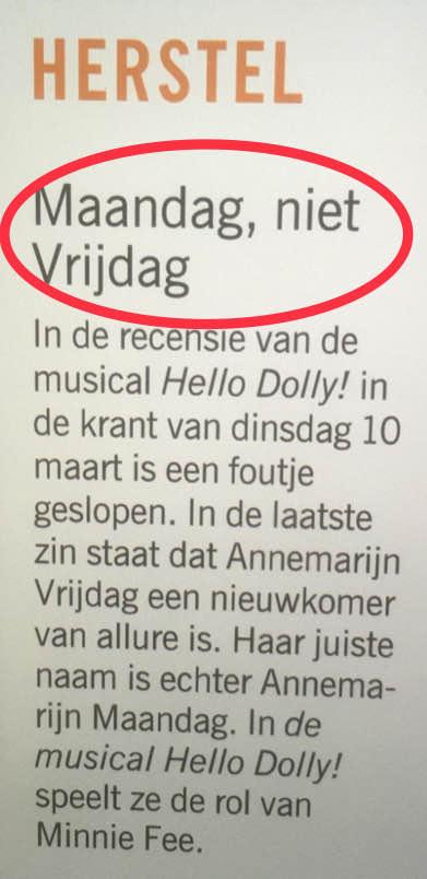 rectificatie Annemarijn Maandag - Hello Dolly